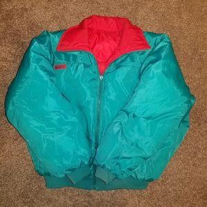 Columbia Reversible Teal Red Puffer Coat Large